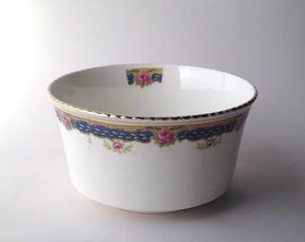 Antique Bone China Sugar Bowl, Pink Roses. Old china.