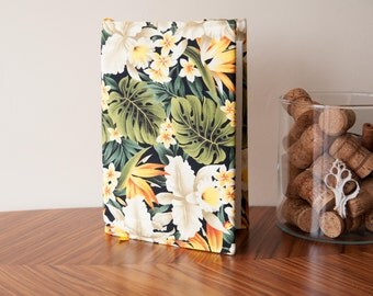 A5 Fabric Book Cover. Made with Hand Printed Hawaiian Fabric Made in Maui. Tropical Print. Handmade, Gifts For Her, Gifts For Him.