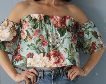 Off The Shoulder Floral Cotton Top/Re-Purposed Vintage Fabric/Sustainable Fashion/Vintage Flowers/Crop Top/