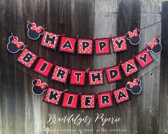Minnie Mouse Birthday banner, Minnie banner, Happy Birthday banner, Minnie Birthday