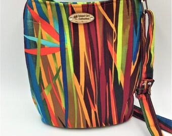 Hipster Bag, Crossbody Bag, Shoulder Bag, Travel Purse in Vibrant Blades -  Made in Maui