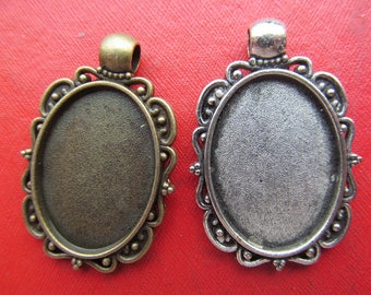 18mmx25mm Pendant Tray, Bezel Setting, 18mmx25mm  Cabochon Tray - Antique Bronze,Antique Silver