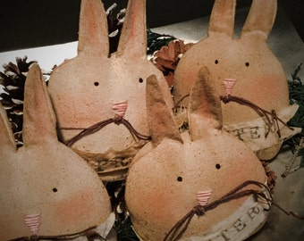 Made to order: set of 4 Easter Bunny Primitive Rabbit
