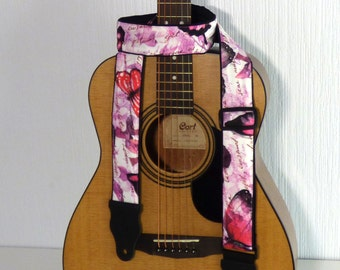 Butterflies Guitar Strap. Bright. Pink. White. Black. Adjustable Music Instrument Strap. Acoustic Guitar Strap. Electric Guitar Strap.