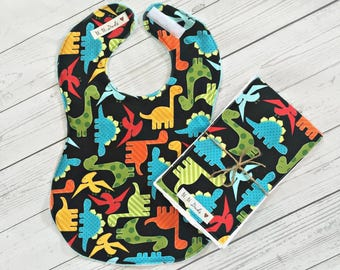 Full Coverage Baby Bib/ Burp Cloth- Michael Miller Dinosaurs