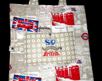 foldable Tote embroidered So British personalized bag