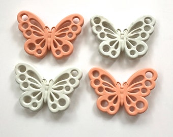 Vintage Burwood Butterflies. Kitsch Plastic Wall Decor #2580. Set of 4. White and Peach.