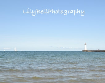 Instant Download Landscape Photography Lake Ontario Lighthouse, Sailboat