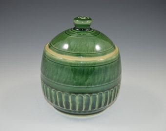 Lidded jar, lidded box, esmerald green, ceramic jar, sugar bowl, salt box, ready to ship