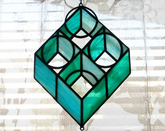 Geometric Stained Glass Suncatcher in Turquoise and Teal - Ready to Ship