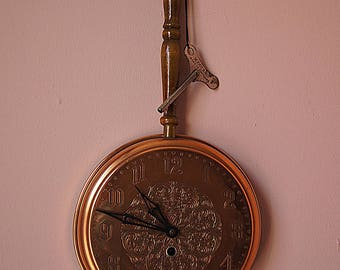 Vintage Smiths Clock With Key, Kitchen Copper Wall Hanging Frying Pan-Mechanical Clock.