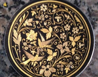 Black on Metal Small Dish with Intricate Gold Tone Inlay Bird and Flower Design -Toledo Damascene