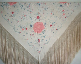 1800's ~ Antique Silk Piano Shawl~ Breathtaking with Subtle Colors~ Silk with Hand Stitching~Bohemian~Vintage Fashion~ Bridal~Valentines Day