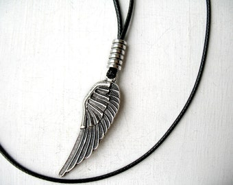 Feather necklace men, boyfriend birthday, gift Idea for guy, jewelry for boys, husband long necklace, black accessories for him dad