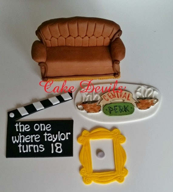 Cake Tv Show Reviews : Friends Couch and Coffee Cups Cake Topper Kit Fondant