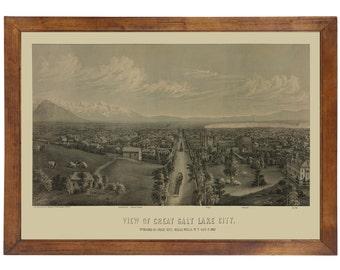 Great Salt Lake City, UT 1867 Bird's Eye View; 24x36 Print from a Vintage Lithograph
