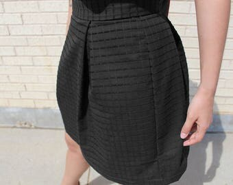 Pleated Grid Skirt