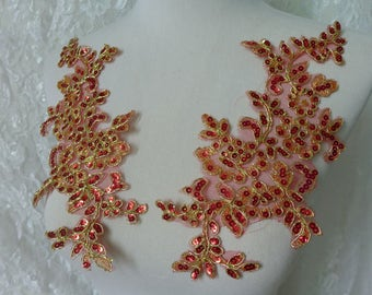 Beaded Lace Applique, Red Sequins on Mesh, Gold Cord Embroidery Applique, One pair