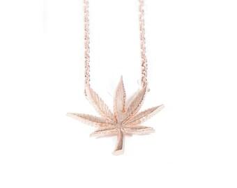 SALE! Rose Gold Weed Leaf Necklace