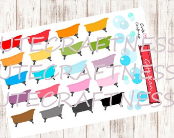 Bath tub stickers planner bath time