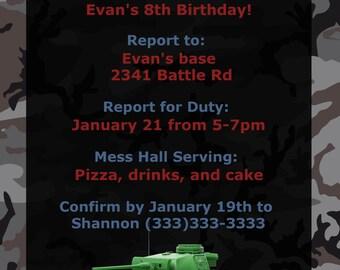 Military Birthday Party Invitation, Army Party, Camo Invitation, Tank Invitation, Digital Invitation, Digital Invite, Birthday Invite