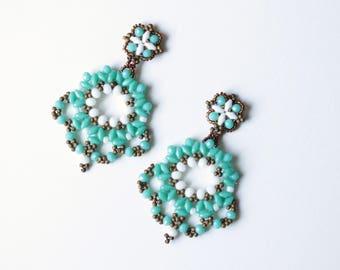 Gipsy earrings, turquoise beaded earrings, pendant earrings, bollywood earrings