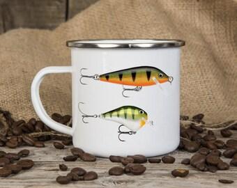 Fishing Themed Enamel Mug, Birthday Gift, Camping, Outdoor, Father's Day Gift, Coffee Mug, Camping Equipment,