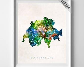 Switzerland Map Print, Bern Print, Switzerland Poster, Watercolor Map, State Art, Travel Poster, Giclee Art, Home Decor, Dorm Decor