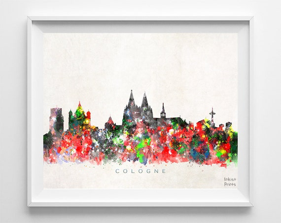 Cologne Skyline Print Germany Wall Art Cologne Cityscape