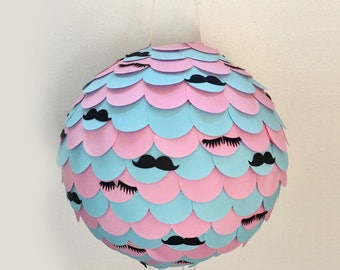 Lashes ans Stashes Gender Reveal Piñata, Lashes and Mustaches  Gender Reveal Pinata, Baby Shower Piñata