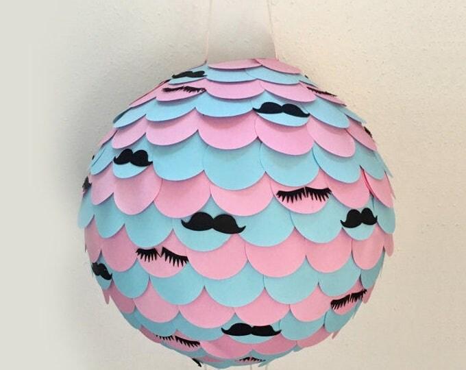 Lashes ans Stashes Gender Reveal Piñata, Lashes and Mustaches  Gender Reveal Piñata, Baby Shower Piñata