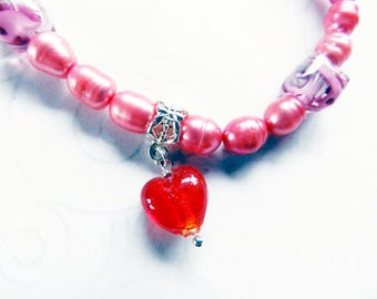 Red Glass Heart Charm Bracelet, Pink Freshwater Pearls, Mothers Day Gift, Square Lamp Work Rose Bead, BFF Gift, Graduate Gift, Heart Jewelry