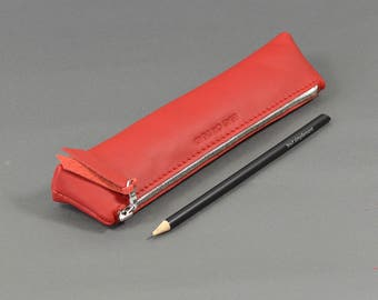 Handmade Red Leather LeadorDead Pencil Case.