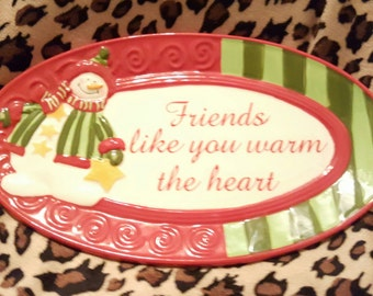 """Fitz and Floyd Lovable Snowman Plate """"Friends You Warm The Heart"""""""