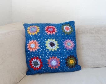 Hook and polka dot pillow cover / blue and purple
