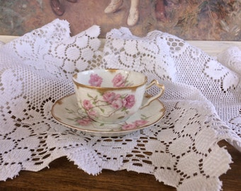 Haviland Schleiger 1151 Baltimore Rose Coffee Cup & Saucer #10