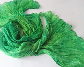 Ruffled Silk scarf Hand painted Silk scarves Batik silk Green and Grass Hand painted silk accessory gift for her