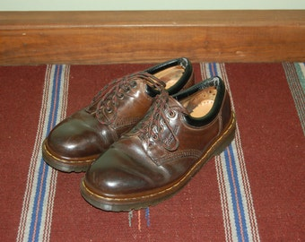 Men 9 US 8 UK Dr Martens Airwair Brown Leather Shoes Made in England