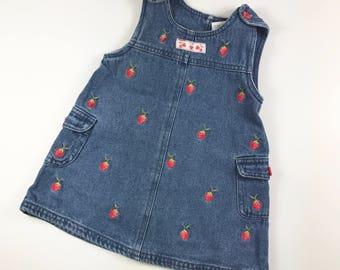 Vintage Denim Girl's Romper with Strawberries Size 12 Months