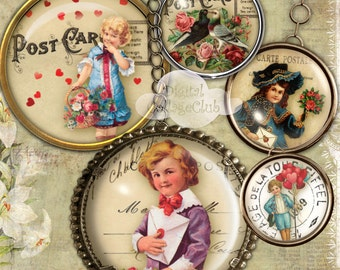 Vintage Victorian Valentine 1 Inch Digital Collage Sheet Images for Bottlecaps Jewelry Making Round Circles for Pendants