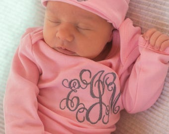 Personalized Baby Gown and Hat with Grey Initials on Pink gown