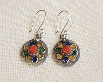 kabyl earings with enamel and mediteranean coral