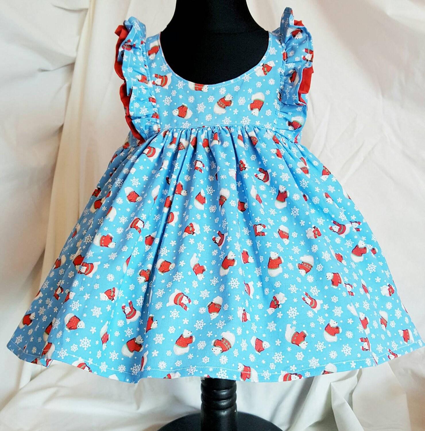 Polar bear dress baby girls dress girls blue layering dress