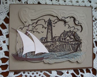 Masculine Birthday Card, Thinking of You, All Occasion, for him, 3 dimensional, greeting card, image of ocean and lighthouse, sailing ship
