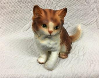 Lefton Orange Tabby Cat Porcelain Figurine, Porcelain Cat figurine, Orange Tabby Statue, Marmalade Cat Kitty Figurine , Playful Kitty,