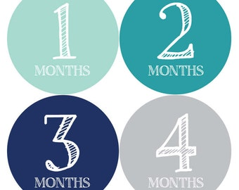 Baby Monthly Stickers - Baby Month Milestone Stickers, Month by Month Stickers, Baby Month Stickers, Baby Age Stickers, Growth Stickers