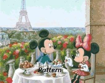 Mickey and Minnie in Paris. Cross Stitch Kit.