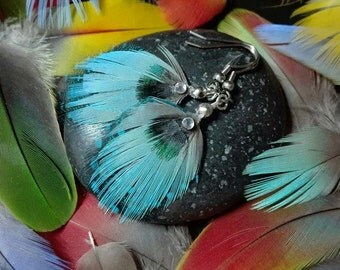 Blue color real Parrot feather earrings.