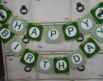 John Deere Themed - Happy Birthday Banner - Customizeable - (Tractor Theme, Green and Yellow)