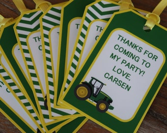 John Deere Themed Party *** CUSTOMIZABLE *** Favor Tags - Gift Tags - Thank You Tags - Sold in Lots of 8 (Tractor Theme)
